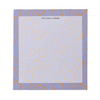 girly orange purple circle squares pattern dizzy note pads