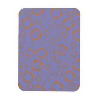 girly orange purple circle squares pattern dizzy rectangle magnet