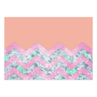Girly Orange Purple Floral Block Chevron Pattern Large Business Cards (Pack Of 100)