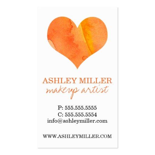 girly orange watercolor heart polka dot background