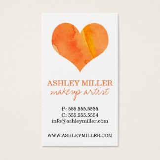 Girly Orange Watercolor Heart Polka Dot Background Business Card