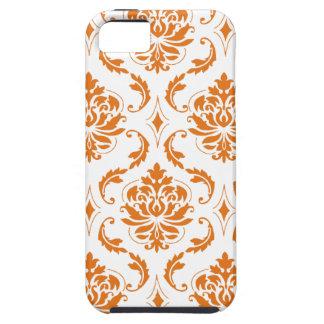 Girly Orange White Vintage Damask Pattern iPhone SE/5/5s Case