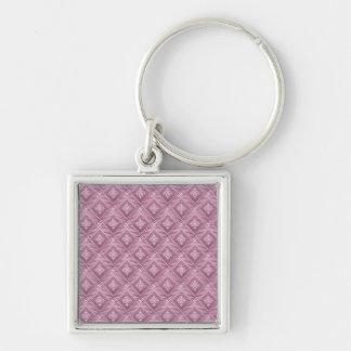 Girly Orchid Pink Damask Pattern Keychain