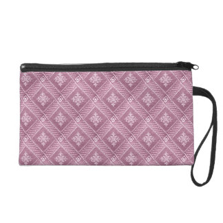 Girly Orchid Pink Damask Pattern Wristlet Purse