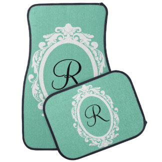 Girly Ornate Frame Custom Monogram Car Mats