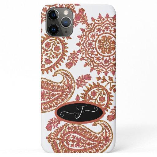 Girly Paisley Pattern Pink Gold Glitter w Monogram iPhone 11 Pro Max Case