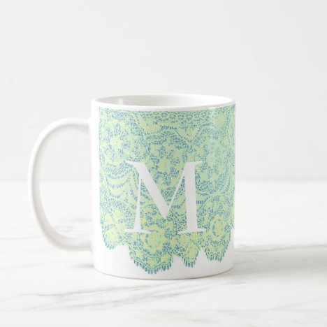 Girly Pale Green Lace on Mug with Initial
