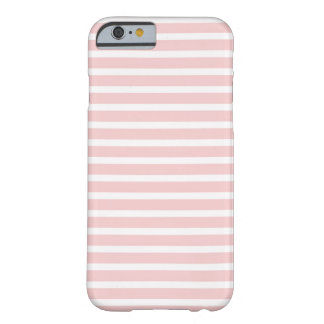Girly Pale Pink and White Stripes Barely There iPhone 6 Case