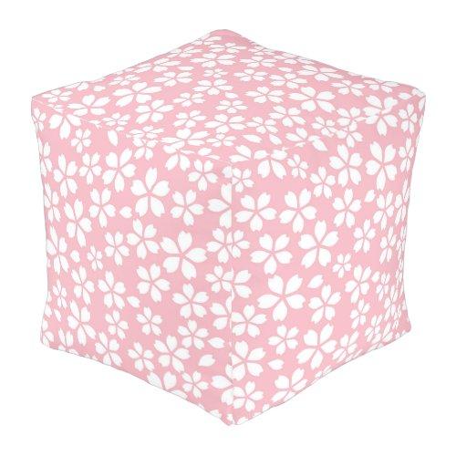 Pink Pale Floral Pouf