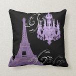 girly paris fashion eiffel tower chandelier throw pillows