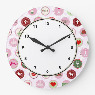 Girly Paris Pink Shabby Chic pattern Large Clock