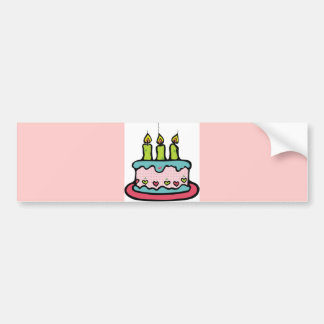 GIRLY PARTY CAKE candles colorful cartoon fun Bumper Sticker