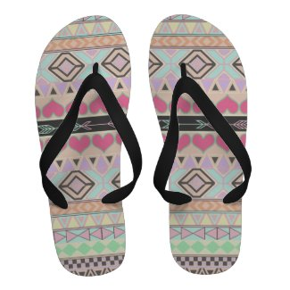 Girly Pastel Andes Abstract Aztec Pink Love Hearts Flip-Flops