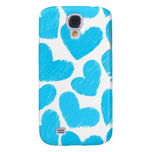 Girly pastel blue love hearts pattern samsung galaxy s4 cases