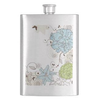 Girly Pastel Flowers and Swirls Flask