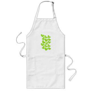 Girly pastel green love hearts pattern long apron