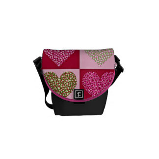 Girly Pastel Hearts Courier Bag