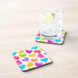 Girly pastel love hearts pattern drink coaster