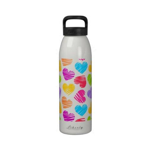 Girly pastel love hearts pattern drinking bottle