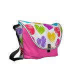 Girly pastel love hearts pattern messenger bag