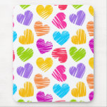 Girly pastel love hearts pattern mouse pad