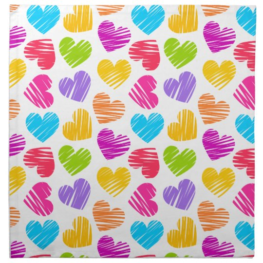 Girly pastel love hearts pattern napkin