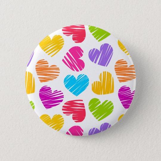 Girly pastel love hearts pattern pinback button
