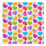 Girly pastel love hearts pattern posters