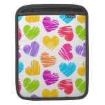 Girly pastel love hearts pattern sleeves for iPads