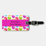 Girly pastel love hearts pattern travel bag tag