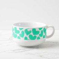 Girly pastel mint love hearts pattern soup mug