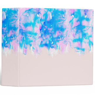 Girly Pastel Pink and Blue Watercolor Paint Drips 3 Ring Binder
