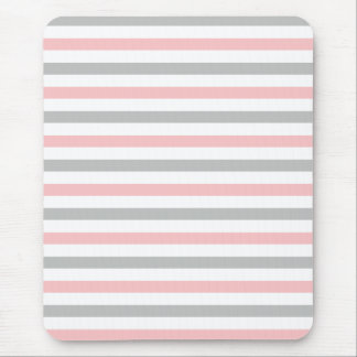 Girly Pastel Pink and Gray Stripes Mouse Pad