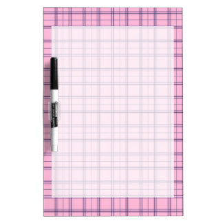 Girly Pastel Pink and Purple Plaid Pattern Dry-Erase Board