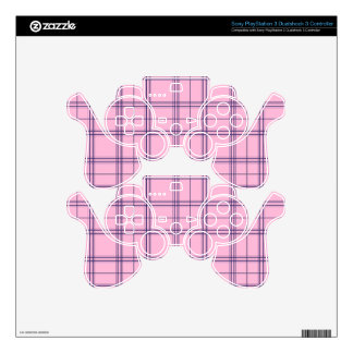 Girly Pastel Pink and Purple Plaid Pattern Skin For PS3 Controller