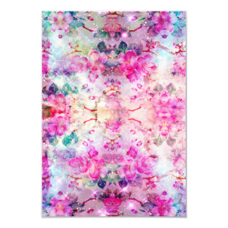 Girly pastel pink floral bright watercolor space card