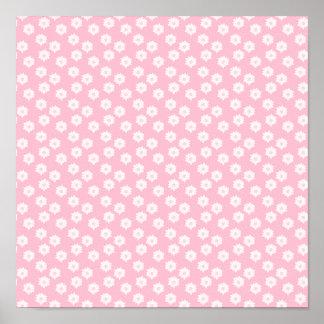 Girly Pastel Pink Floral Pattern. Poster
