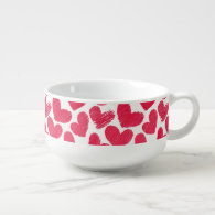 Girly pastel red love hearts pattern soup bowl with handle
