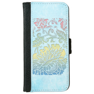 Girly Pastel Sculpted Floral iPhone 6/6s Wallet Case