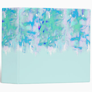 Girly Pastel Teal and Blue Watercolor Paint Drips 3 Ring Binder