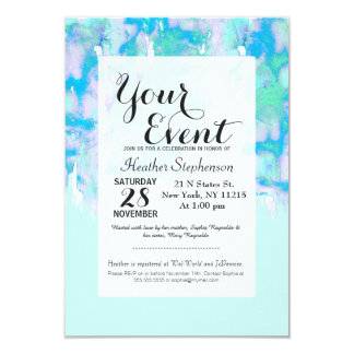 Girly Pastel Teal and Blue Watercolor Paint Drips Card