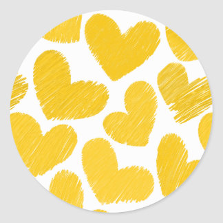 Girly pastel yellow love hearts pattern classic round sticker