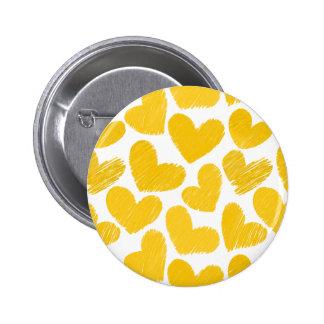 Girly pastel yellow love hearts pattern pinback button