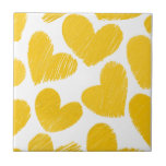 Girly pastel yellow love hearts pattern small square tile