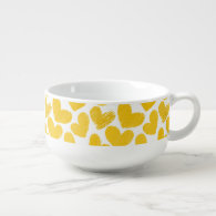 Girly pastel yellow love hearts pattern soup bowl with handle