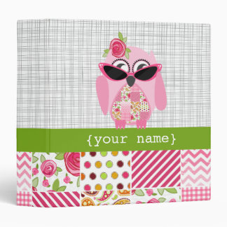 Girly Patchwork Pink Owl Binder