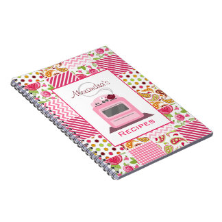 Girly Patchwork & Retro Stove Recipe Notebook
