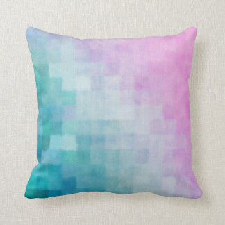 Girly Pattern Abstract Watercolor Pixels Throw Pillow