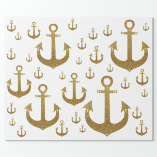 girly pattern of golden anchors nautical wrapping paper