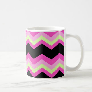 girly pattern zigzag fuchsia hot pink chevron coffee mug